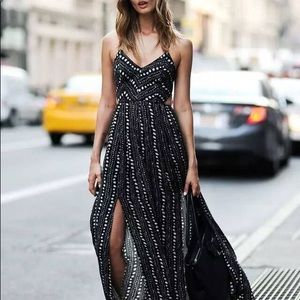 Ecote Safari Strappy Back Maxi Dress Sz L